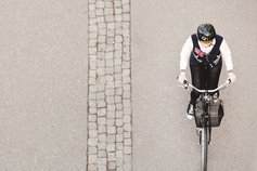High angle view of a cyclist on a street