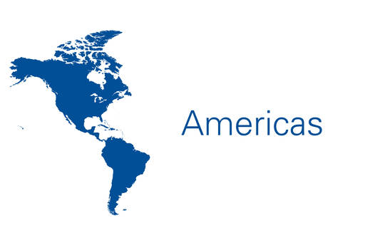 Americas map in blue on white background