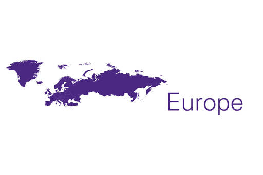 Europe map in purple on white background