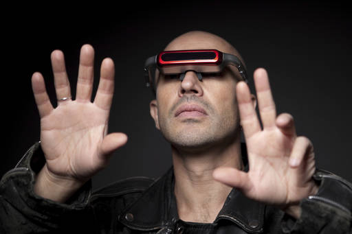 man using augmented reality glasses