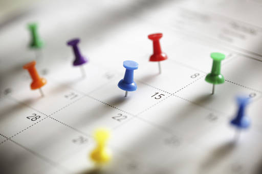 Calendar dates marked with pins
