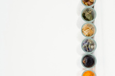 spices in jars in a row
