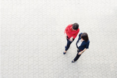 aerial view of two women walking