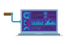Analytics laptop vector