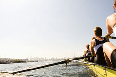 Back view of women rowing