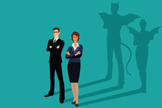 illustrated business people with devilish shadows