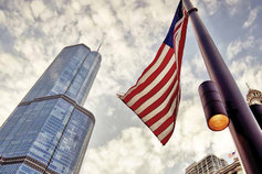 buildings and us flag from bottom
