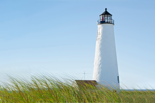 White lighthouse surrounded by grass