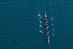 top view of rowing