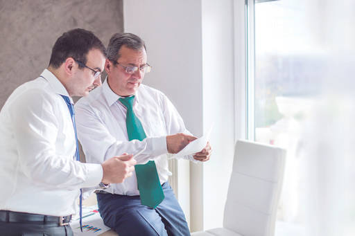 Two professional man discussing a report