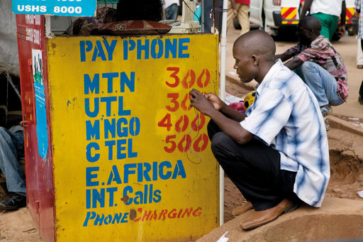 African using payphone