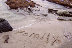 The word family written in sand on a coast
