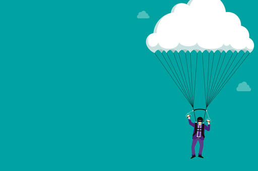 illustration of a man parachuting in a suit
