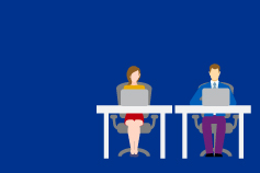 illustration of two people sitting at desks