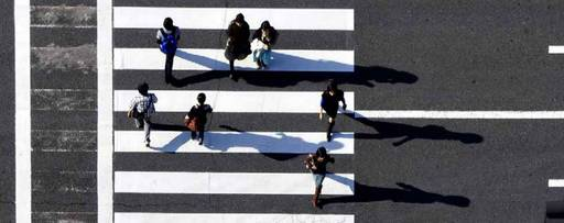 people on a zebra crossing