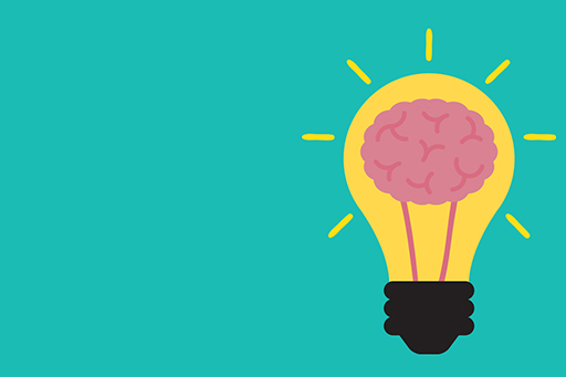 Illustration of light bulb with brain