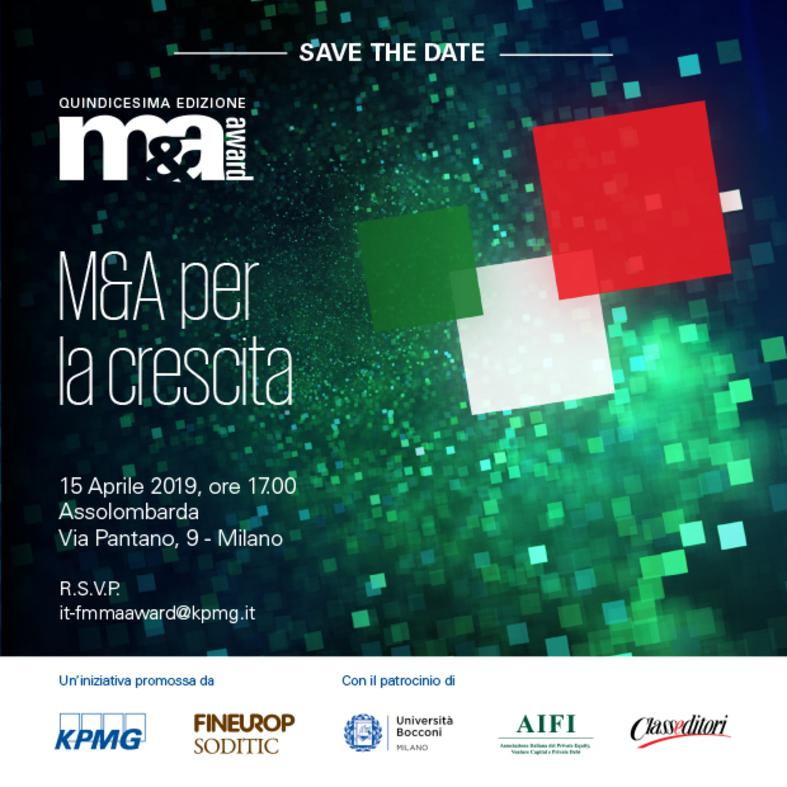 M&A Award 2019 - Save the date
