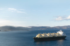 lng ship mountains