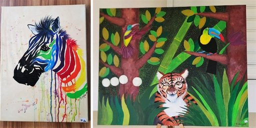 Paintings by the students, from the Zen Artitude Boutik