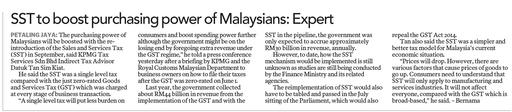 SST to boost purchasing power of Malaysians : Expert