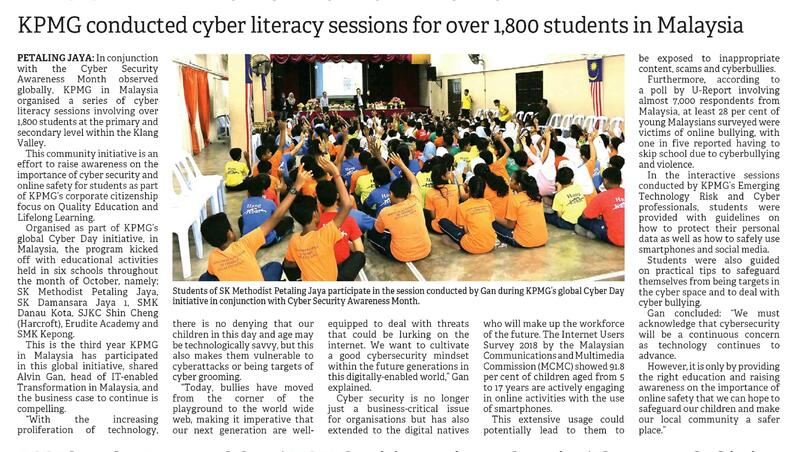 KPMG conducted cyber literacy sessions for over 1,800 students in Malaysia