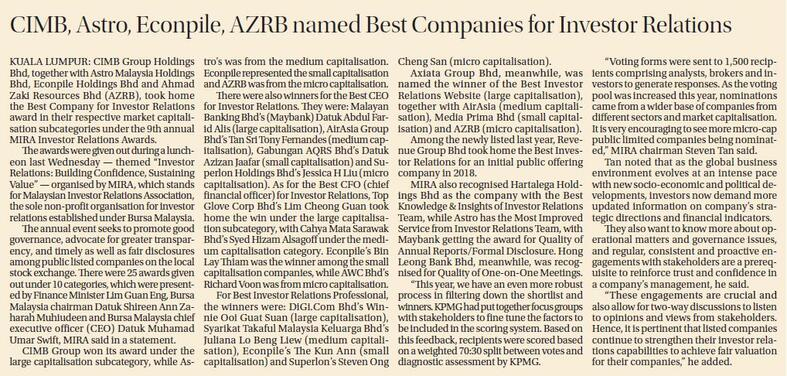 CIMB, Astro, Econpile, AZRB named Best Companies for Investor Relations