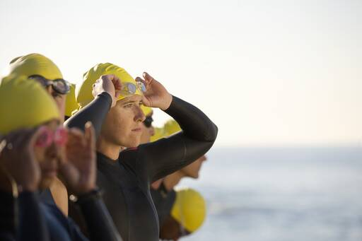 Swimmers before race with blur background