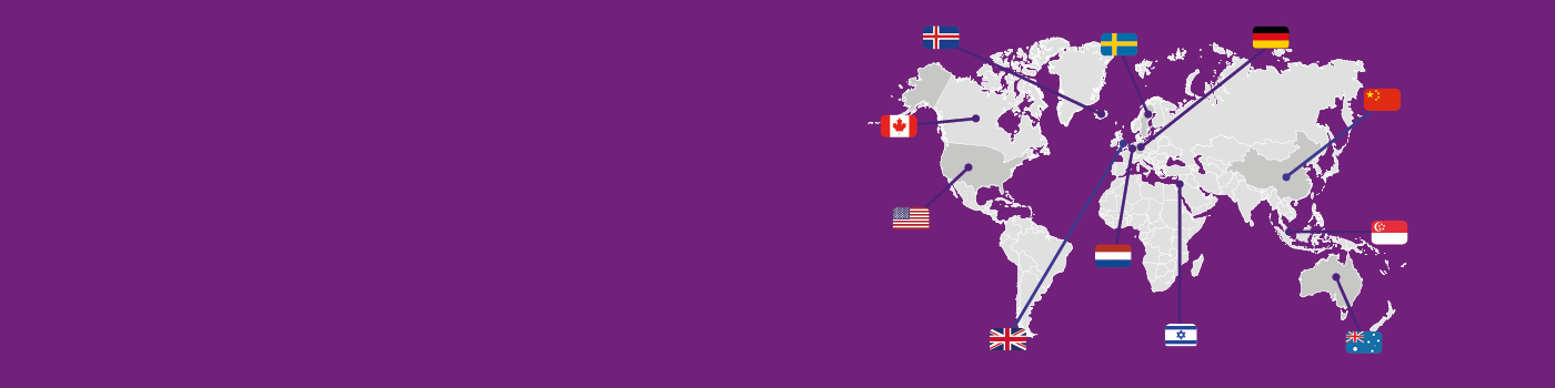 World flags corona visual purple background