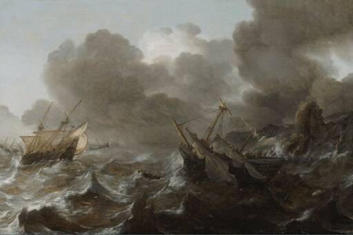 Painting of ships surrounding storm