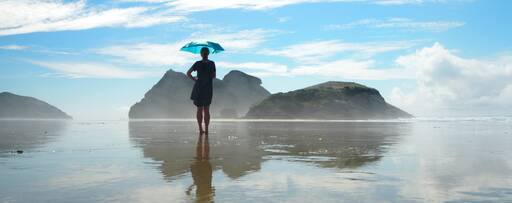 Umbrella on Wharariki beach