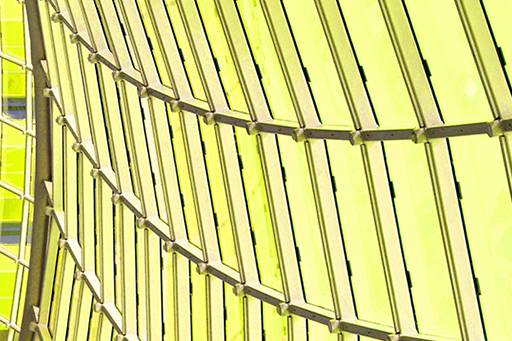 Yellow glass building from the inside