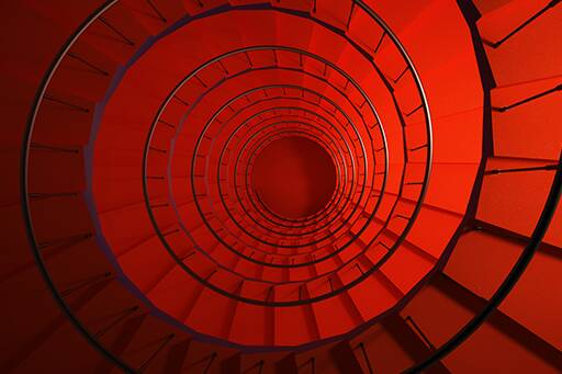 spiral red stairs