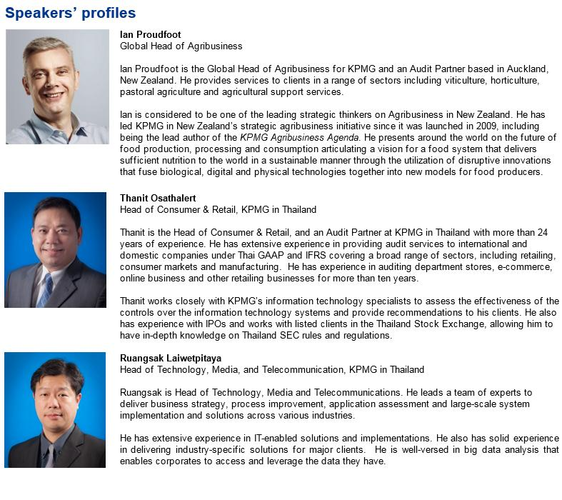Speakers - Agriculture and Food Businesses: Global Trends and Technologies