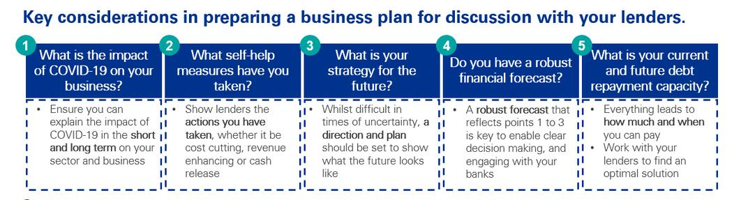 Key considerations in preparing a business plan for discussion with your lenders.