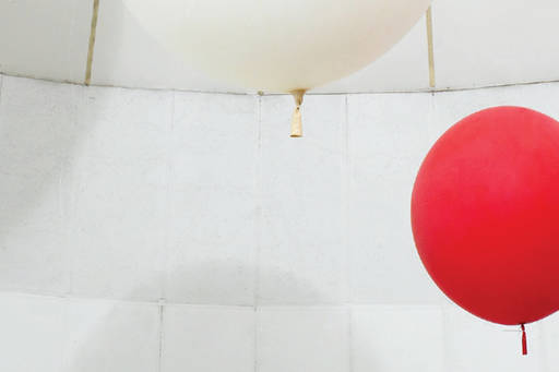 red and white ballon