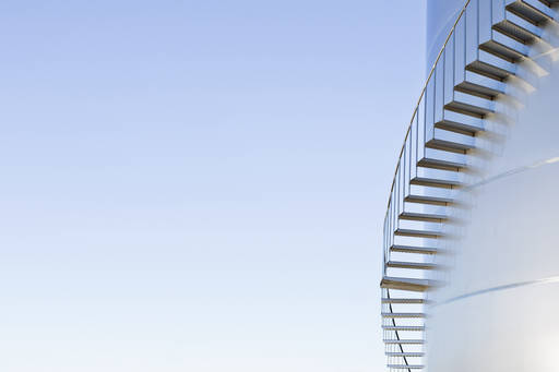 staircase on a round storage building