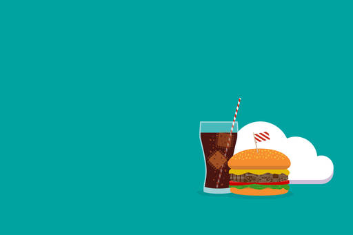 Burger and cola in front of cloud