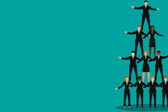 Unite to win against financial crime - people in business suits forming a pyramind