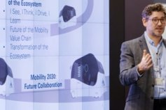 Bringing together the Mobility Ecosystem 2030 - man looking at a screen with an electric car