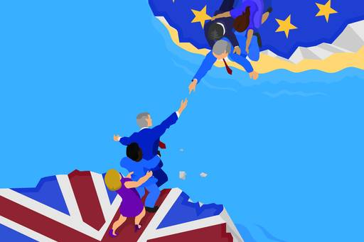The Brexit Column: Reaching agreement - illustration of member of UK and EC trying to reach each other