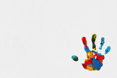 Family Business Brochure - picture of a multi-coloured handprint