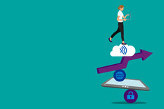 Risky business: delivering great customer service in the digital age - illustration of a woman onto of several icons - arrow, wifi symbol, locked symbol and a tablet