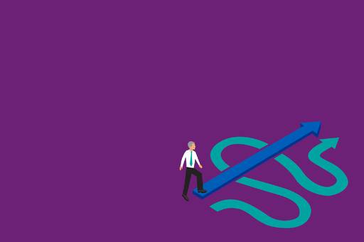 New compliance, cut costs and increase value - illustration of a man standing on a zigzag arrow