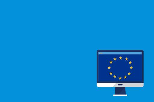 The European commission has today published its proposals on new rules to tax digital businesses, Illustration of computer with European flag
