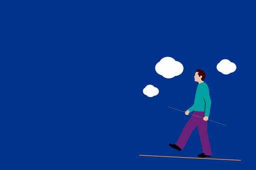 Mortality risk: The threat to DC schemes - illustration of a man walking on a rope