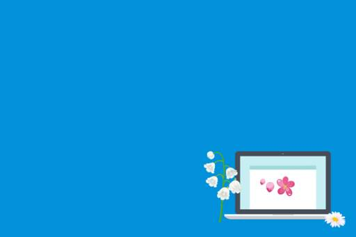 Spring Statement and the Digital Economy, Illustration of laptop with flowers