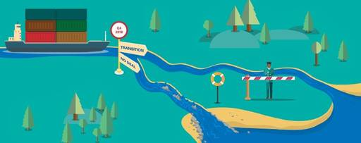 Interactive brexit navigator - illustration of a river with sign-posts