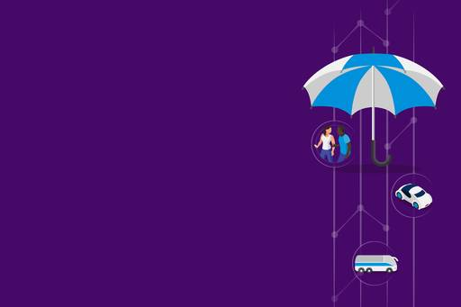 illustration of an umbrella with icons underneath