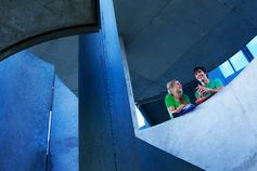International agendas in Higher Education - two people chatting on a staircase