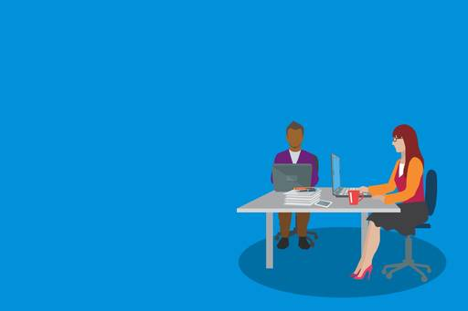 Pension governance and disclosure is changing, Illustration of two people working at a desk